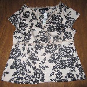 Jones Wear 8P Pink Black Short Sleeve Shirt NWT